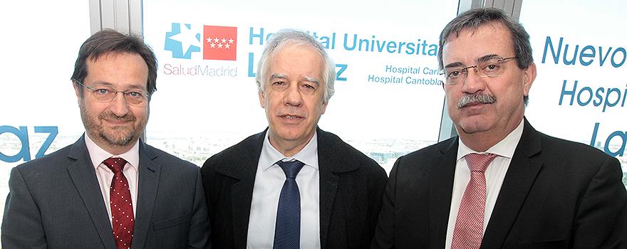 Fernando Prados; Javier Cobas, subdirector gerente del Hospital La Paz; Manuel Molina