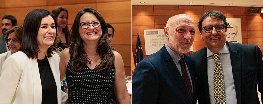 La ministra junto a la consejera valenciana, Mónica Oltra. A la derecha, Rodrígo Gutiérrez y José María Vergeles.