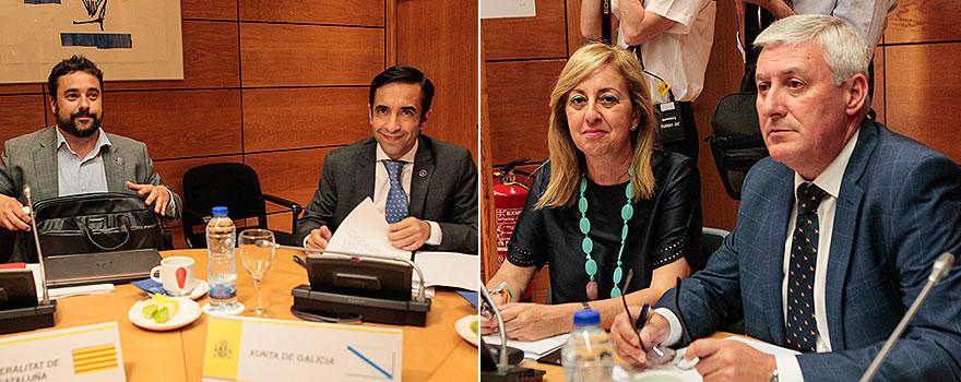 A la izquierda,Chakir el Homrani Lesfar y José Manuel Rey. A la derecha, Adela María Nieto y Daniel Ventura.