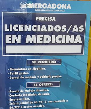 Extracto de la oferta e empleo de Mercadona para licenciados en Medicina.