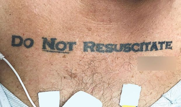 ¿Un tatuaje tiene la misma validez legal que un documento de 'no RCP'?