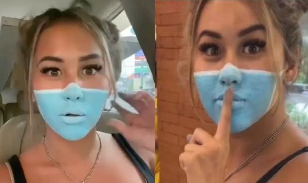 'Broma' influencer: pintarse la mascarilla en la cara en vez de llevarla