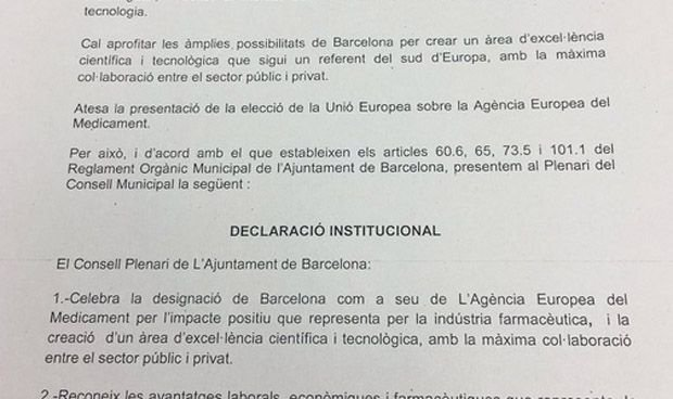 Celebración 'interruptus' del Ayuntamiento de Barcelona por la EMA