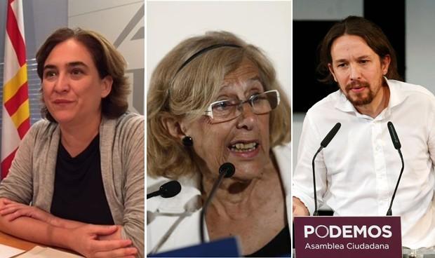 Colau, Carmena e Iglesias se unen contra los CIE por el derecho a la salud
