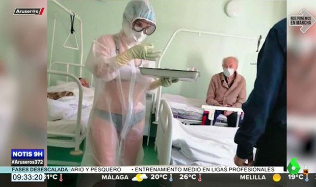 Coronavirus: una enfermera, sancionada por ir semidesnuda bajo el EPI