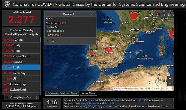Coronavirus: el mapa de la Johns Hopkins pasa de 127.800 casos en el mundo
