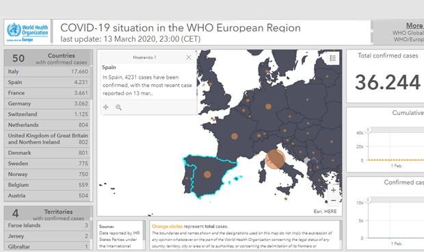 Coronavirus: mapa de casos en Europa, con España solo detrás de Italia