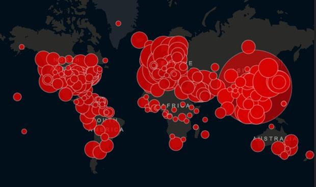 Coronavirus mapa Johns Hopkins: pone 4 a España