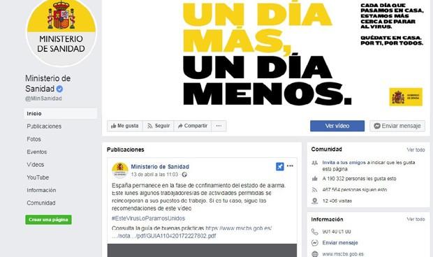 Coronavirus: Sanidad denuncia ante Facebook actividad anómala en su cuenta