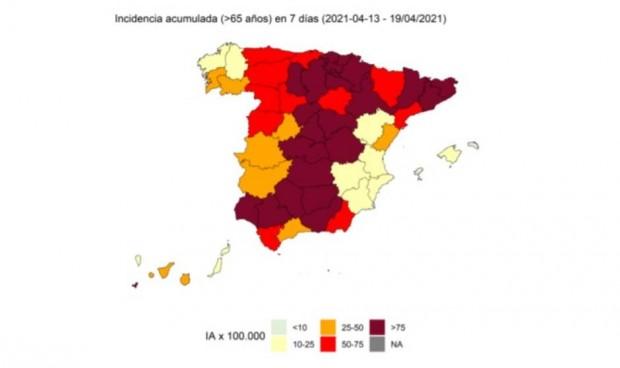 La incidencia Covid en personas mayores desaparece en dos zonas de España