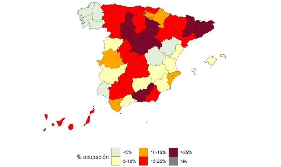 Covid: 13 provincias superan el umbral máximo de ocupación de UCI