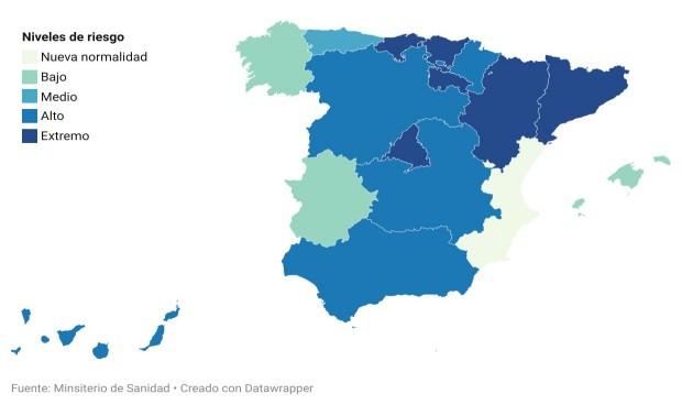 Covid: siete regiones salen del estado de alarma con las UCI saturadas