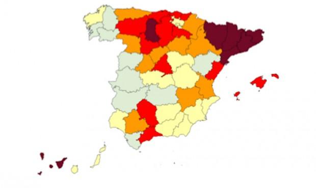 Dos provincias españolas, por encima del 60% de ocupación UCI por Covid