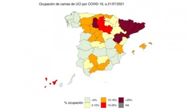 Dos provincias, puntos negros de UCI Covid por su disparada ocupación