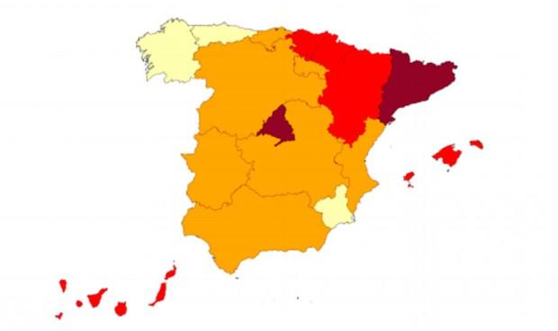 Dos regiones españolas tienen más del 30% de UCIs ocupadas por Covid-19
