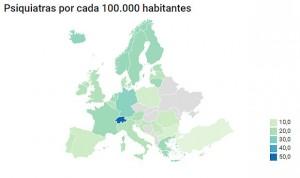 España, cuarto país con menos psiquiatras por habitante en la Unión Europea