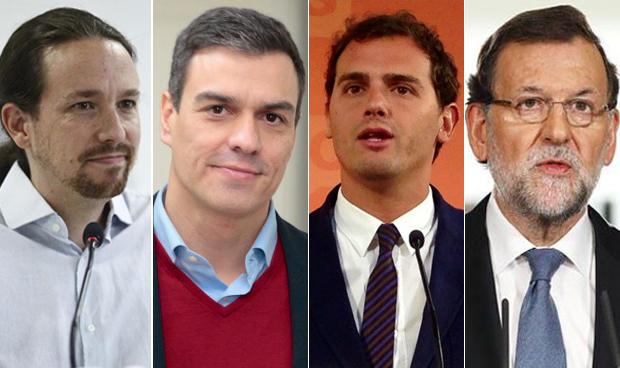 Iglesias, Sánchez, Rivera y Rajoy
