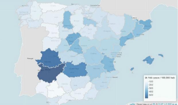 Incidencia Covid España: una provincia roza los 600 y 17, en riesgo extremo