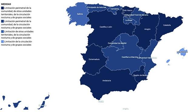 Covid: mapa interactivo con todas las restricciones por comunidad autónoma