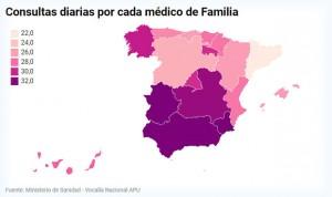 Los médicos de Murcia tienen 10 consultas diarias más que los de Cataluña