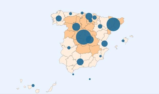 Mapa interactivo del coronavirus en España y en las CCAA en tiempo real