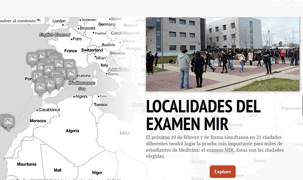 Mapa nacional de todas las universidades que acogerán el examen MIR 2018