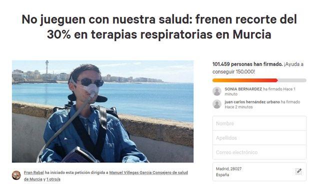 Más de 100.000 firmas contra el concurso de TRD de Murcia