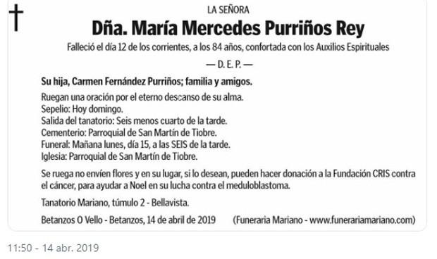 Mercedes no quiere flores en su funeral; pide donaciones contra el cáncer