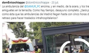 Polémica por una ambulancia mal aparcada y 2 técnicos tomando café al lado