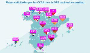 Primer avance de plazas por CCAA para la OPE nacional en sanidad