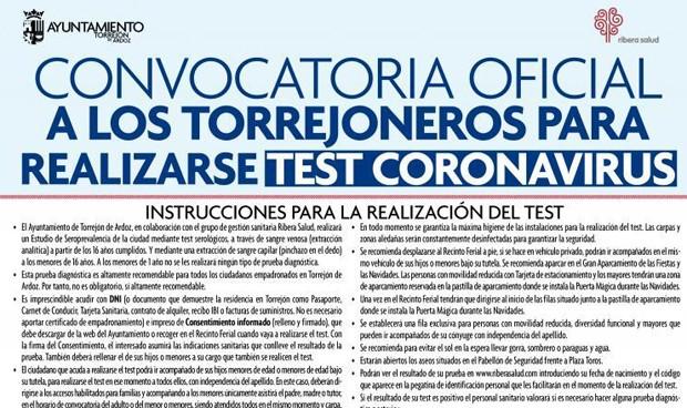 Torrejón tendrá test Covid-19 (por hora y apellido)
