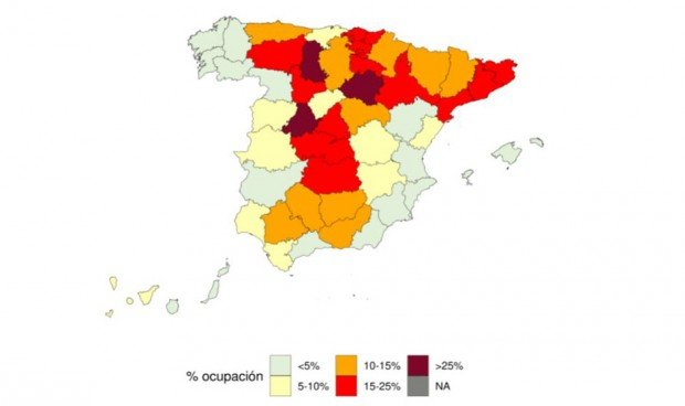 Tres provincias españolas, 'puntos negros' de la ocupación UCI por Covid